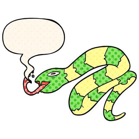 cartoon hissing snake with speech bubble in comic book style