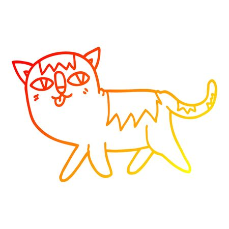 warm gradient line drawing of a cartoon funny cat