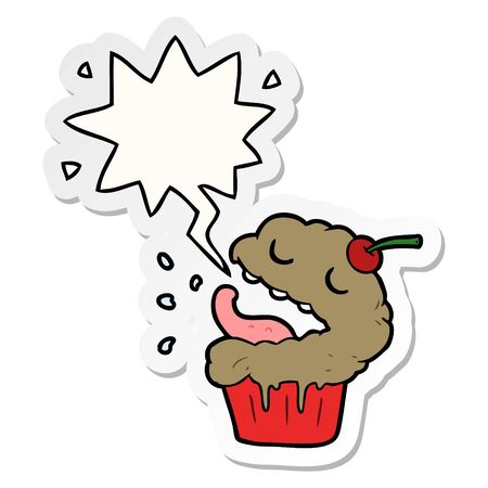 funny cartoon cupcake with speech bubble sticker