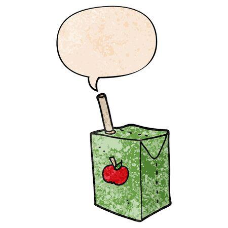 cartoon apple juice box with speech bubble in retro texture style Ilustracja
