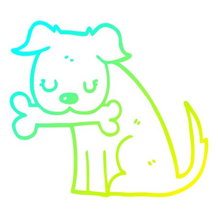 cold gradient line drawing of a cartoon dog Ilustracja
