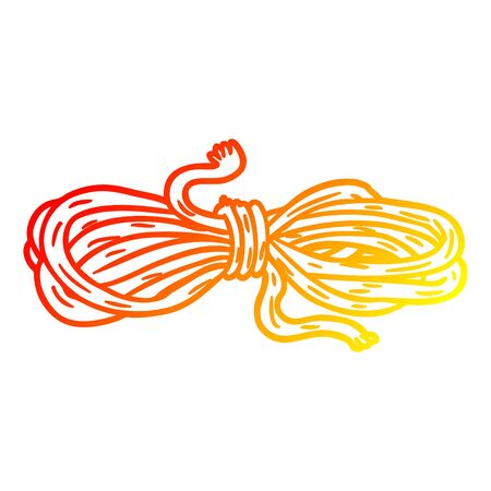 warm gradient line drawing of a Cartoon rope