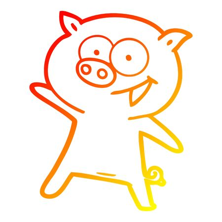 warm gradient line drawing of a cheerful dancing pig cartoon