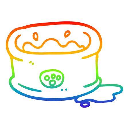 rainbow gradient line drawing of a cartoon pet bowl