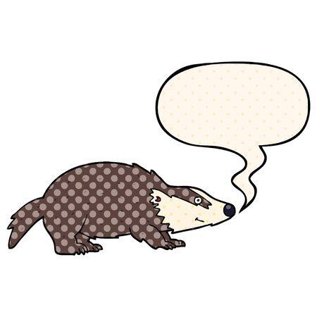 cartoon badger with speech bubble in comic book style Ilustracja