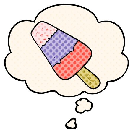 cartoon ice lolly with thought bubble in comic book style Ilustração