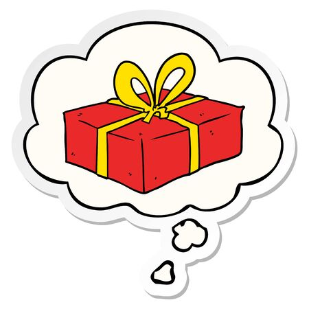 cartoon wrapped gift with thought bubble as a printed sticker Ilustração