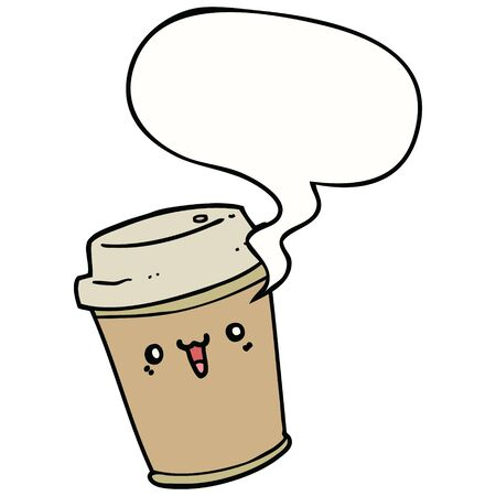 cartoon take out coffee with speech bubble