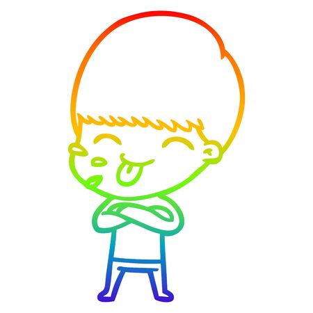 rainbow gradient line drawing of a cartoon rude man