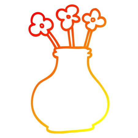 warm gradient line drawing of a cartoon flower vase