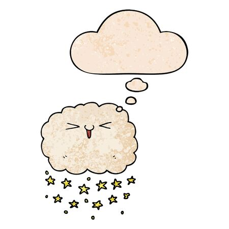 happy cartoon cloud with thought bubble in grunge texture style
