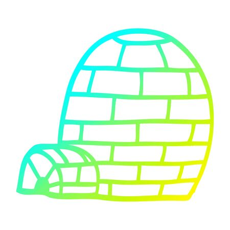 cold gradient line drawing of a cartoon igloo Illustration