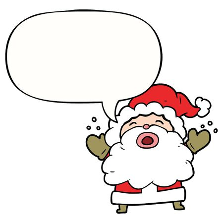 cartoon santa claus shouting in frustration with speech bubble