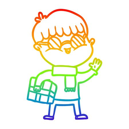 rainbow gradient line drawing of a cartoon boy wearing spectacles carrying gift