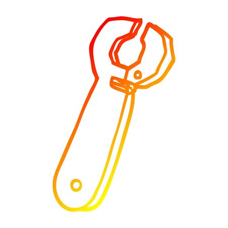warm gradient line drawing of a cartoon spanner tool