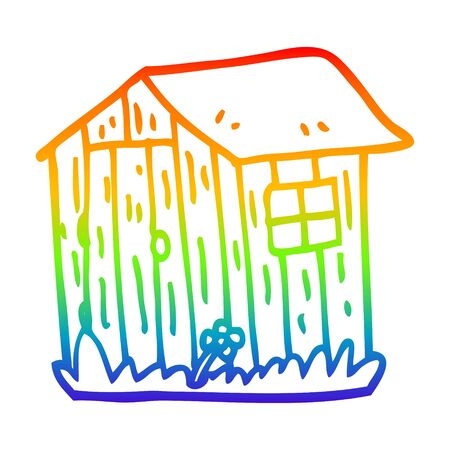 rainbow gradient line drawing of a cartoon wooden shed Illustration