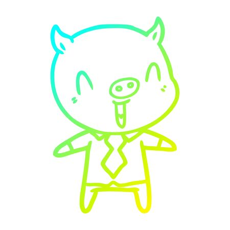 cold gradient line drawing of a happy cartoon pig wearing shirt and tie