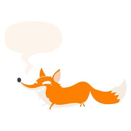 cute cartoon sly fox with speech bubble in retro style