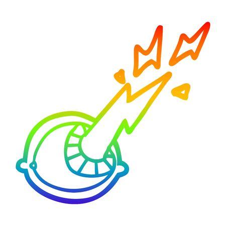 rainbow gradient line drawing of a cartoon spooky magic eyeball Illustration