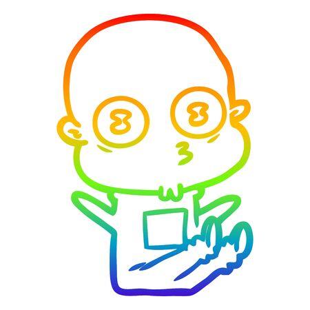rainbow gradient line drawing of a cartoon weird bald spaceman