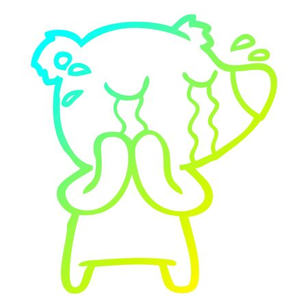 cold gradient line drawing of a cartoon crying polar bear Ilustracja