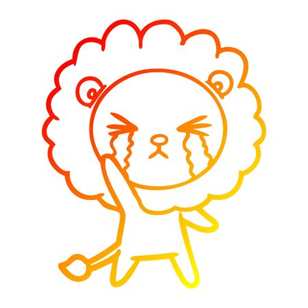 warm gradient line drawing of a cartoon crying lion Ilustracja