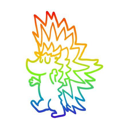 rainbow gradient line drawing of a cartoon spiky hedgehog Ilustração