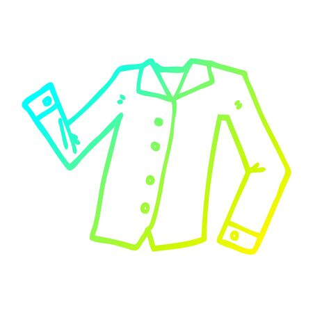 cold gradient line drawing of a cartoon work shirt
