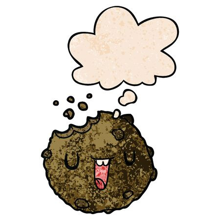 cartoon cookie with thought bubble in grunge texture style