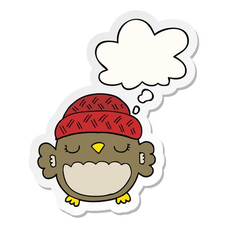 cute cartoon owl in hat with thought bubble as a printed sticker 向量圖像