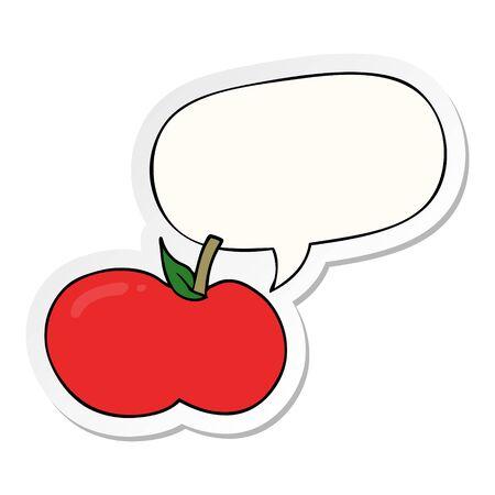 pomme de dessin animé avec autocollant bulle de dialogue