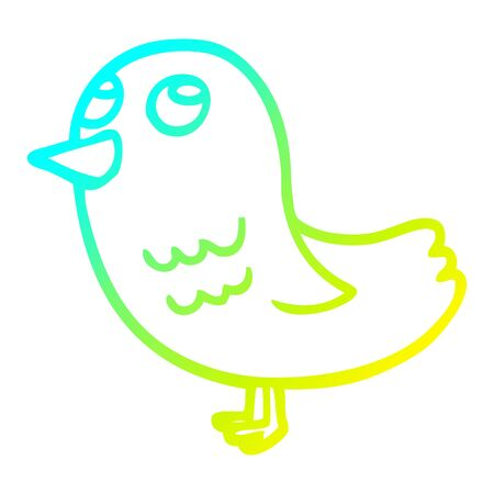 cold gradient line drawing of a cartoon bird looking up 일러스트