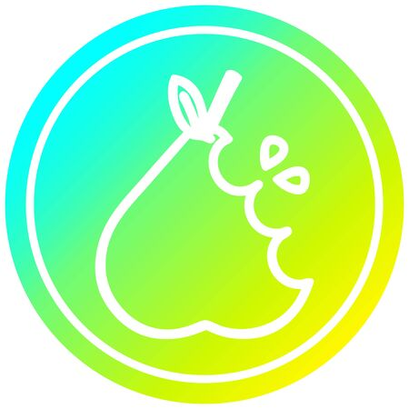 juicy pear circular icon with cool gradient finish Ilustracja