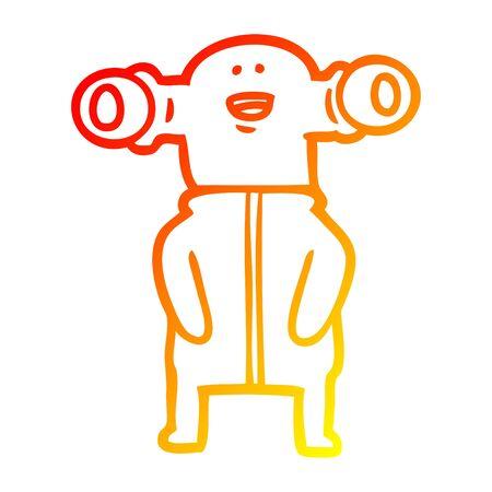warm gradient line drawing of a friendly cartoon alien