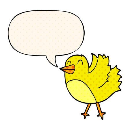 cartoon bird with speech bubble in comic book style Stock Illustratie
