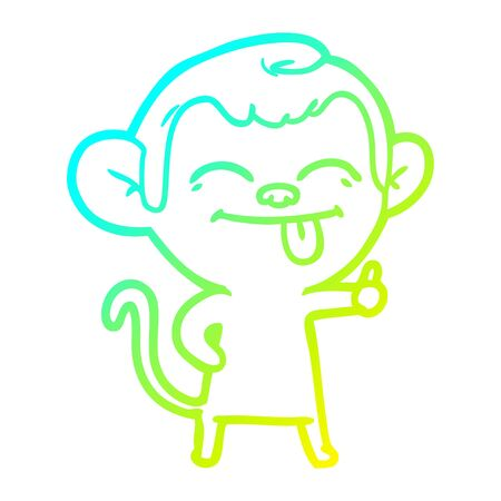 cold gradient line drawing of a funny cartoon monkey Stock Illustratie