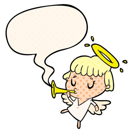 cute cartoon angel with speech bubble in comic book style 일러스트