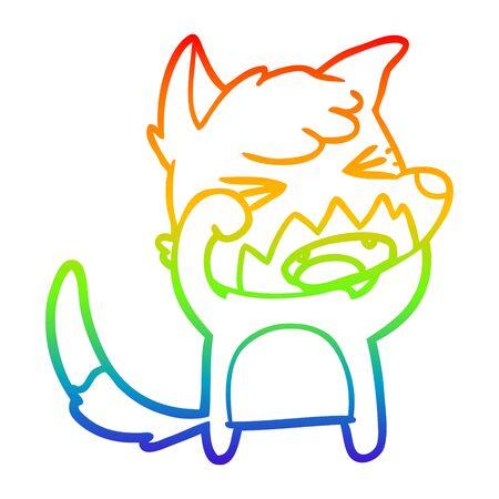 rainbow gradient line drawing of a angry cartoon fox rubbing eyes