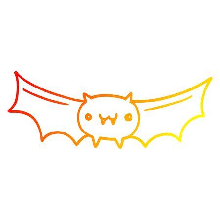 warm gradient line drawing of a cartoon vampire bat