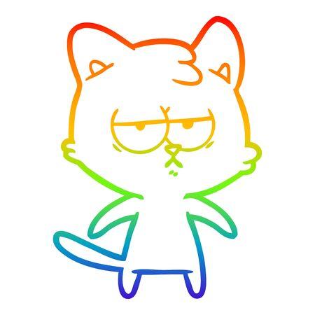 rainbow gradient line drawing of a bored cartoon cat