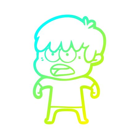 cold gradient line drawing of a worried cartoon boy
