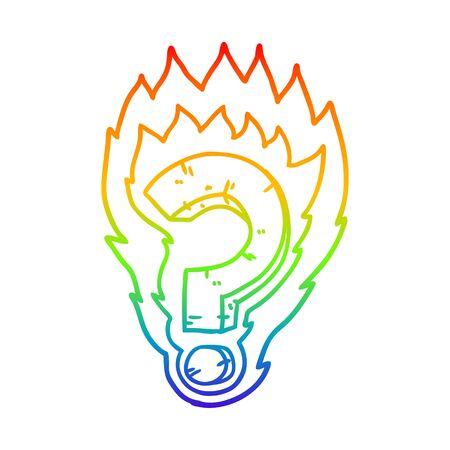 rainbow gradient line drawing of a cartoon flaming question mark Stock fotó - 130199914