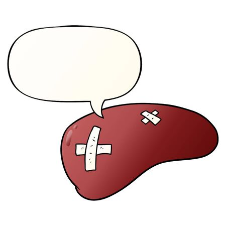 cartoon repaired liver with speech bubble in smooth gradient style