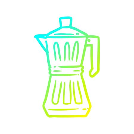 cold gradient line drawing of a espresso maker 向量圖像