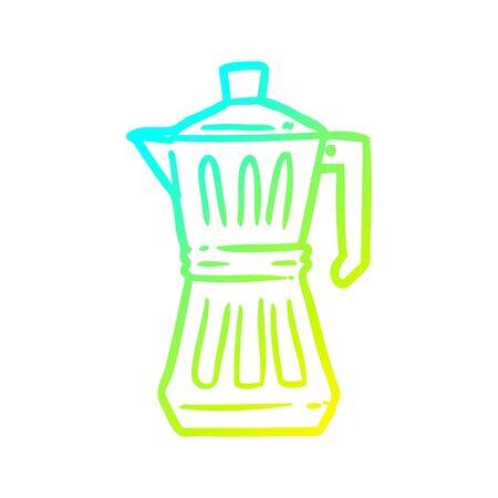 cold gradient line drawing of a espresso maker Illusztráció