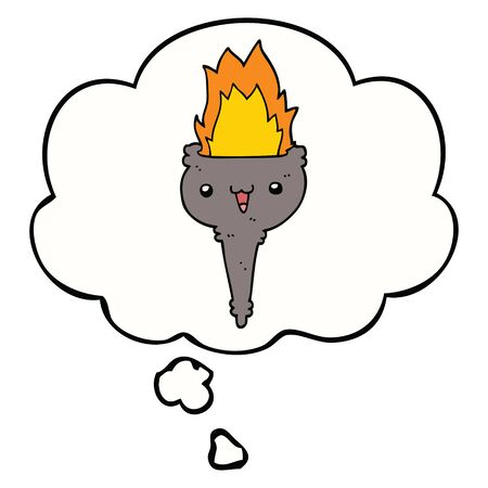 cartoon flaming chalice with thought bubble Stock Illustratie
