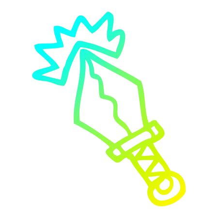cold gradient line drawing of a cartoon small magical dagger Иллюстрация