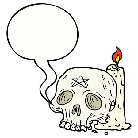 cartoon spooky skull and candle with speech bubble