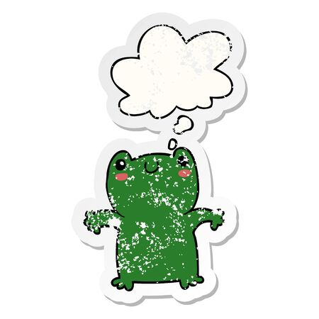 cartoon frog with thought bubble as a distressed worn sticker