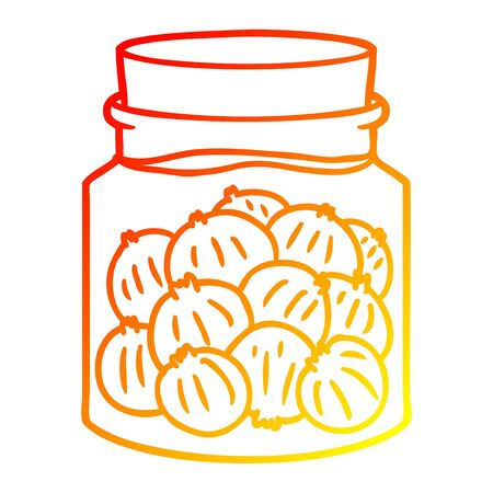 warm gradient line drawing of a cartoon pickled onions Ilustração